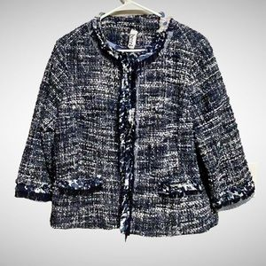 BEREK Travelsmith Blue & White Tweed Blazer